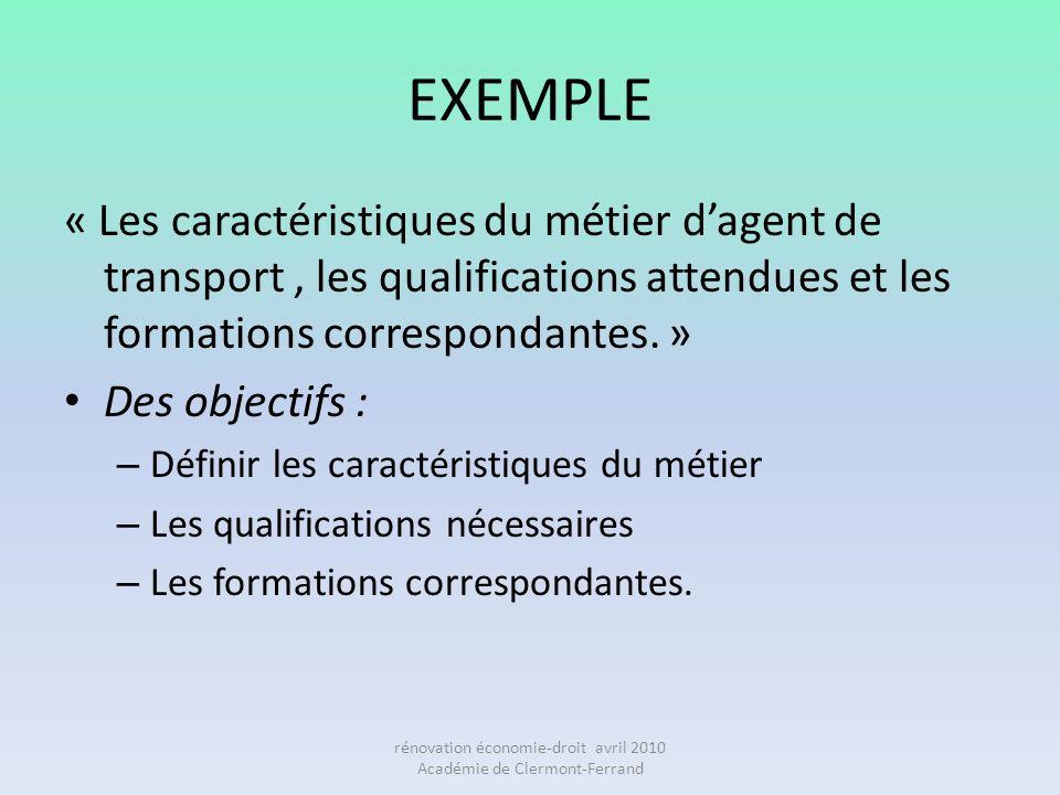 EXEMPLE « Les caractéristiques du métier dagent de transport, les qualifications attendues et les formations correspondantes. » Des objectifs : – Défi