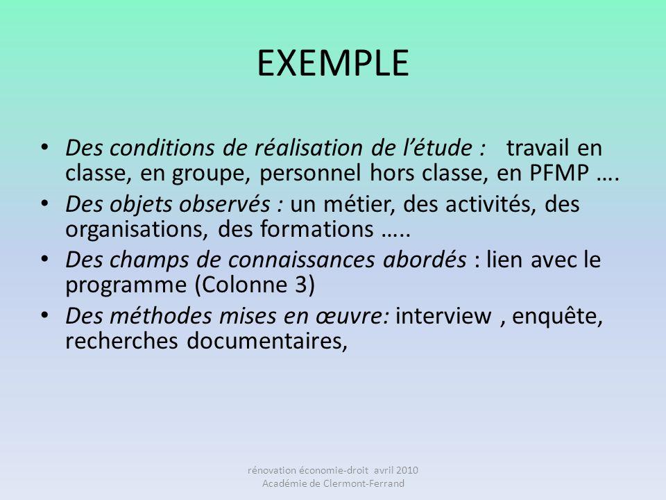 EXEMPLE Des conditions de réalisation de létude : travail en classe, en groupe, personnel hors classe, en PFMP …. Des objets observés : un métier, des