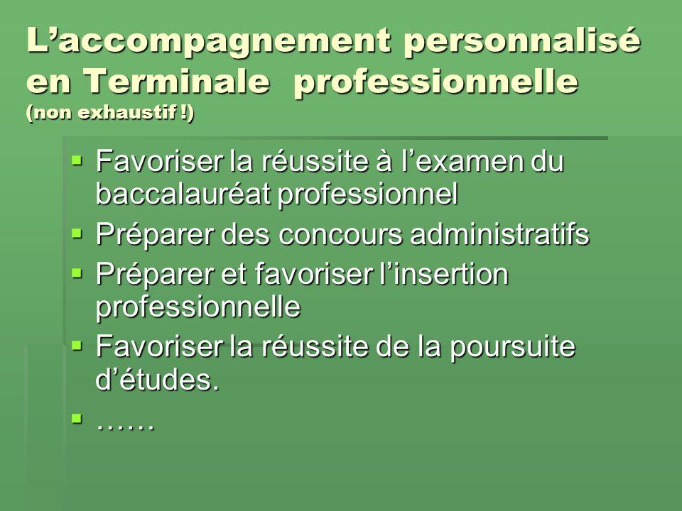 Laccompagnement personnalisé en 1 ère professionnelle (non exhaustif !) Assurer au moins la réussite de la certification intermédiaire Assurer au moin