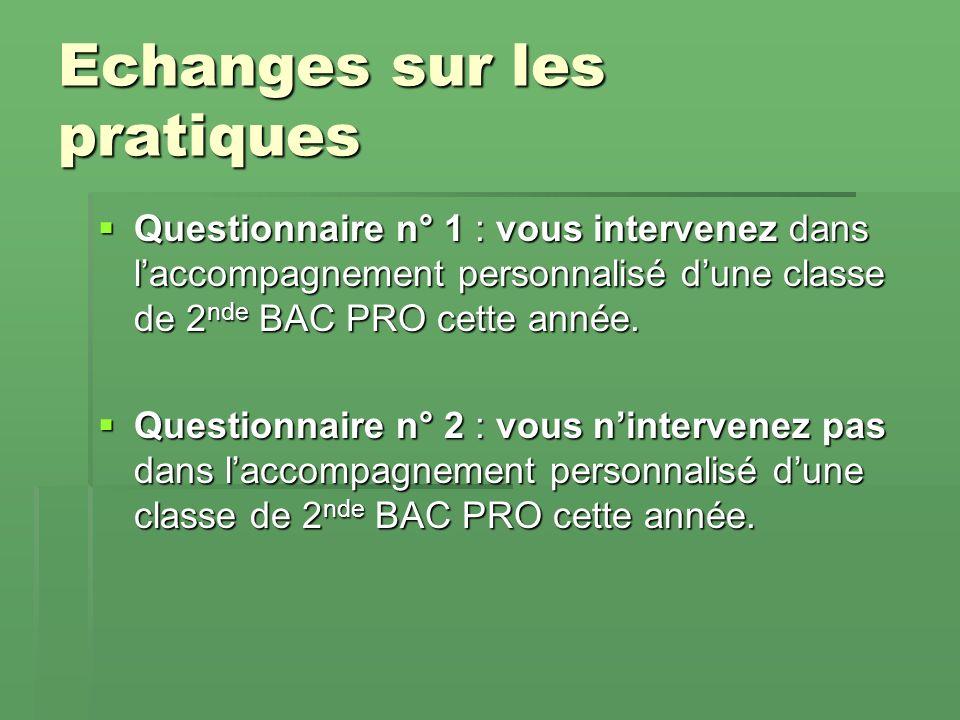 Echanges sur les pratiques Questionnaire n° 1 : vous intervenez dans laccompagnement personnalisé dune classe de 2 nde BAC PRO cette année.