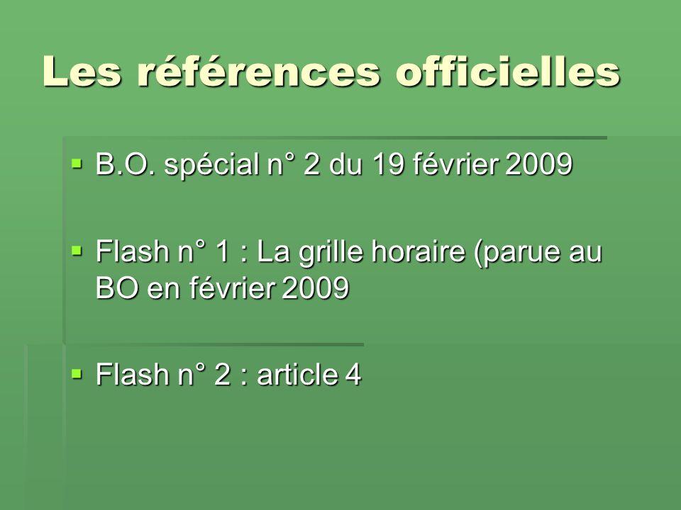 Les références officielles B.O.spécial n° 2 du 19 février 2009 B.O.