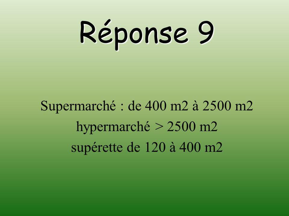 Réponse 9 Supermarché : de 400 m2 à 2500 m2 hypermarché > 2500 m2 supérette de 120 à 400 m2