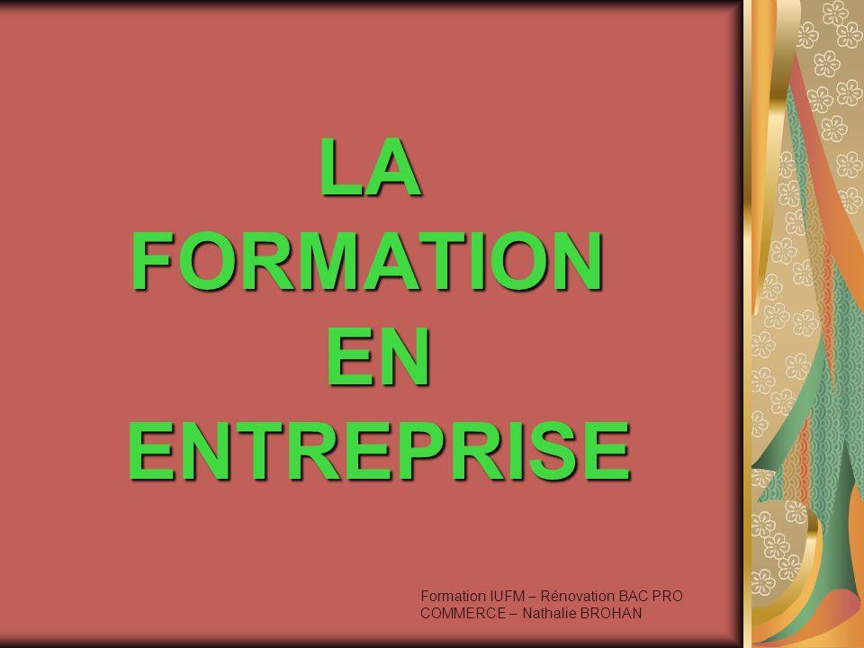 LA FORMATION EN ENTREPRISE Formation IUFM – Rénovation BAC PRO COMMERCE – Nathalie BROHAN