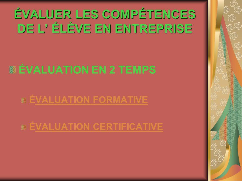 ÉVALUER LES COMPÉTENCES DE L ÉLÈVE EN ENTREPRISE ÉVALUATION EN 2 TEMPS ÉVALUATION FORMATIVE ÉVALUATION CERTIFICATIVE