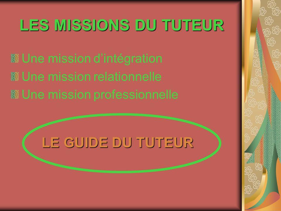 LES MISSIONS DU TUTEUR Une mission dintégration Une mission relationnelle Une mission professionnelle LE GUIDE DU TUTEUR