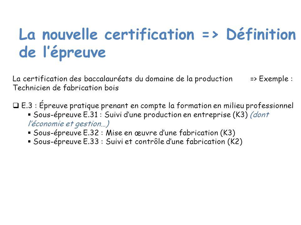 La nouvelle certification => Définition de lépreuve La certification des baccalauréats du domaine de la production => Exemple : Technicien de fabrication bois E.3 : Épreuve pratique prenant en compte la formation en milieu professionnel Sous-épreuve E.31 : Suivi dune production en entreprise (K3) (dont léconomie et gestion…) Sous-épreuve E.32 : Mise en œuvre dune fabrication (K3) Sous-épreuve E.33 : Suivi et contrôle dune fabrication (K2)