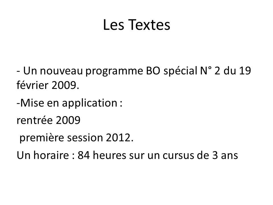 Les Textes - Un nouveau programme BO spécial N° 2 du 19 février 2009.