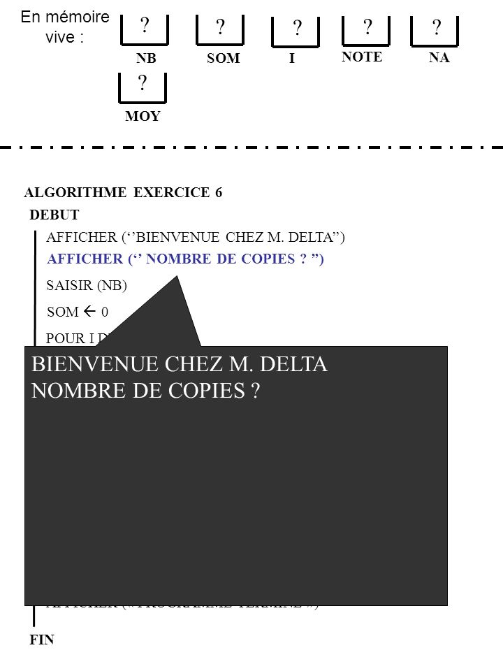 En mémoire vive : ALGORITHME EXERCICE 6 DEBUT NB FIN SOM .