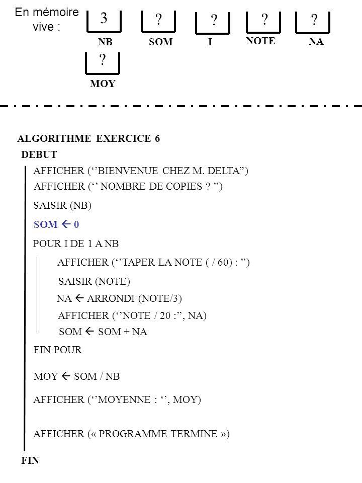 En mémoire vive : ALGORITHME EXERCICE 6 DEBUT NB FIN SOM 3 .