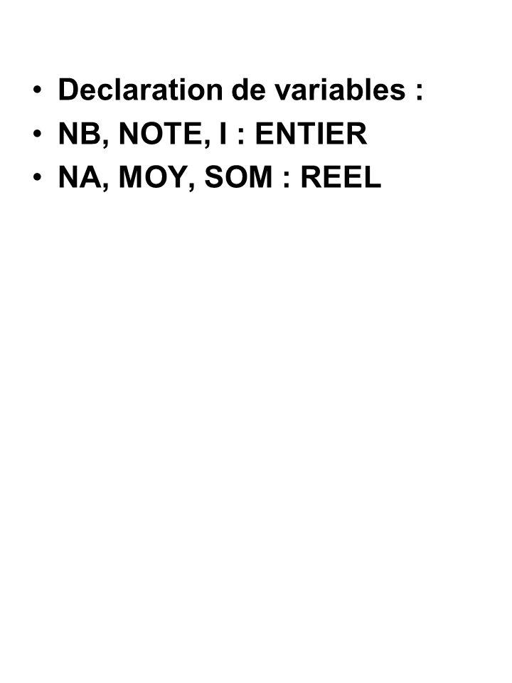 Declaration de variables : NB, NOTE, I : ENTIER NA, MOY, SOM : REEL