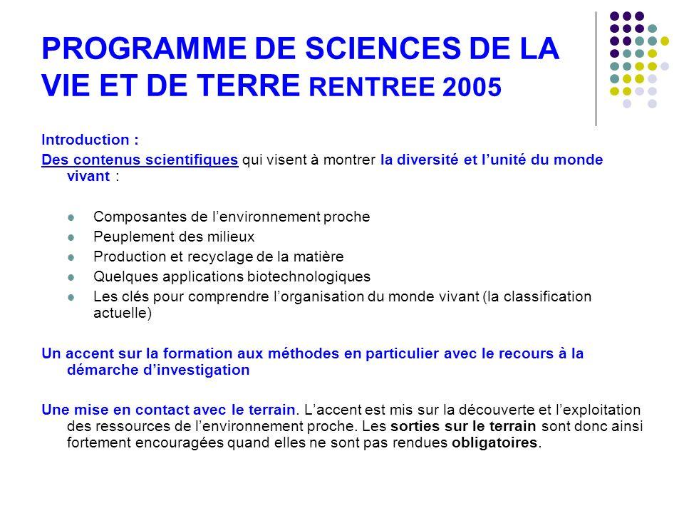 PROGRAMME DE SCIENCES DE LA VIE ET DE TERRE RENTREE 2005 Introduction : Des contenus scientifiques qui visent à montrer la diversité et lunité du mond