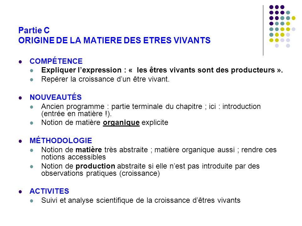 Partie C ORIGINE DE LA MATIERE DES ETRES VIVANTS COMPÉTENCE Expliquer lexpression : « les êtres vivants sont des producteurs ». Repérer la croissance
