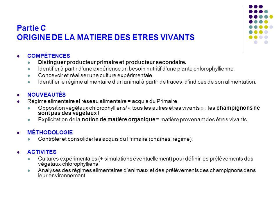 Partie C ORIGINE DE LA MATIERE DES ETRES VIVANTS COMPÉTENCES Distinguer producteur primaire et producteur secondaire. Identifier à partir dune expérie
