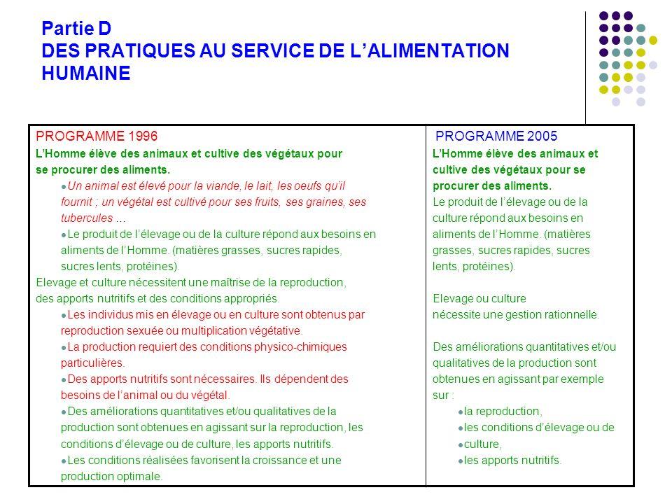 Partie D DES PRATIQUES AU SERVICE DE LALIMENTATION HUMAINE PROGRAMME 1996 LHomme élève des animaux et cultive des végétaux pour se procurer des alimen