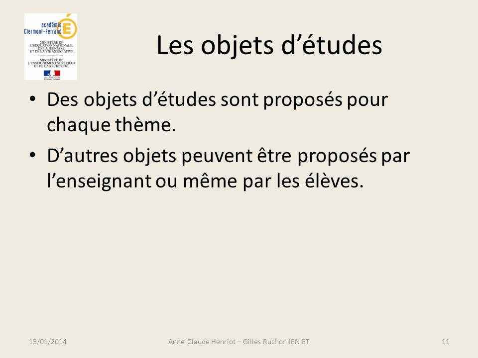 Les objets détudes Des objets détudes sont proposés pour chaque thème. Dautres objets peuvent être proposés par lenseignant ou même par les élèves. 15