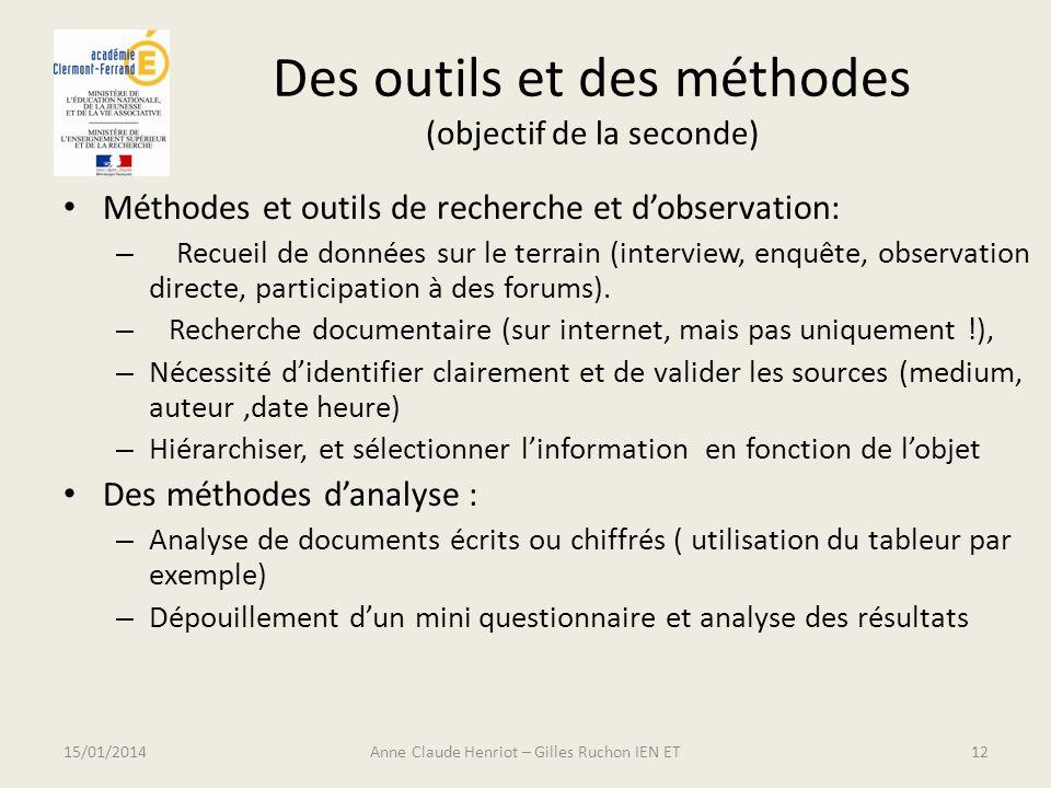 Des outils et des méthodes (objectif de la seconde) Méthodes et outils de recherche et dobservation: – Recueil de données sur le terrain (interview, e