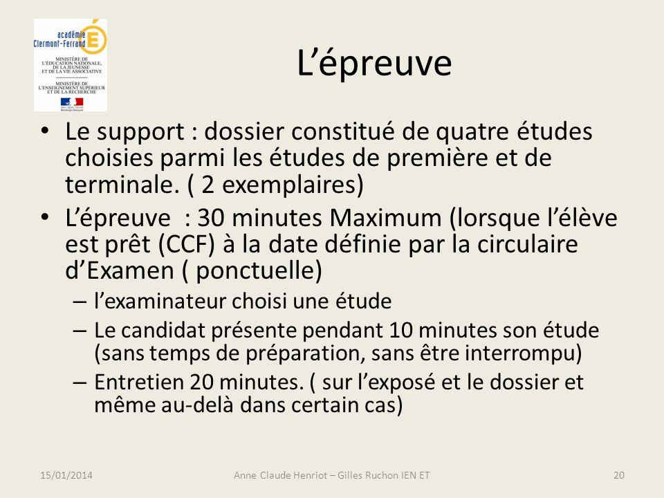 Lépreuve Le support : dossier constitué de quatre études choisies parmi les études de première et de terminale. ( 2 exemplaires) Lépreuve : 30 minutes