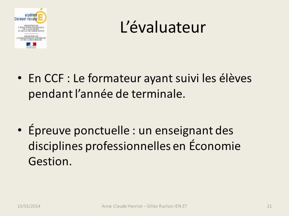 Lévaluateur En CCF : Le formateur ayant suivi les élèves pendant lannée de terminale. Épreuve ponctuelle : un enseignant des disciplines professionnel