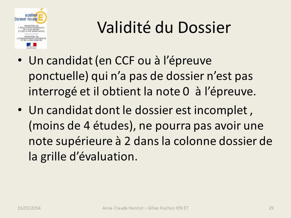 Validité du Dossier Un candidat (en CCF ou à lépreuve ponctuelle) qui na pas de dossier nest pas interrogé et il obtient la note 0 à lépreuve. Un cand
