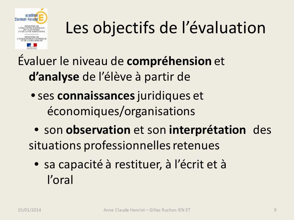 Les objectifs de lévaluation Évaluer le niveau de compréhension et danalyse de lélève à partir de ses connaissances juridiques et économiques/organisa