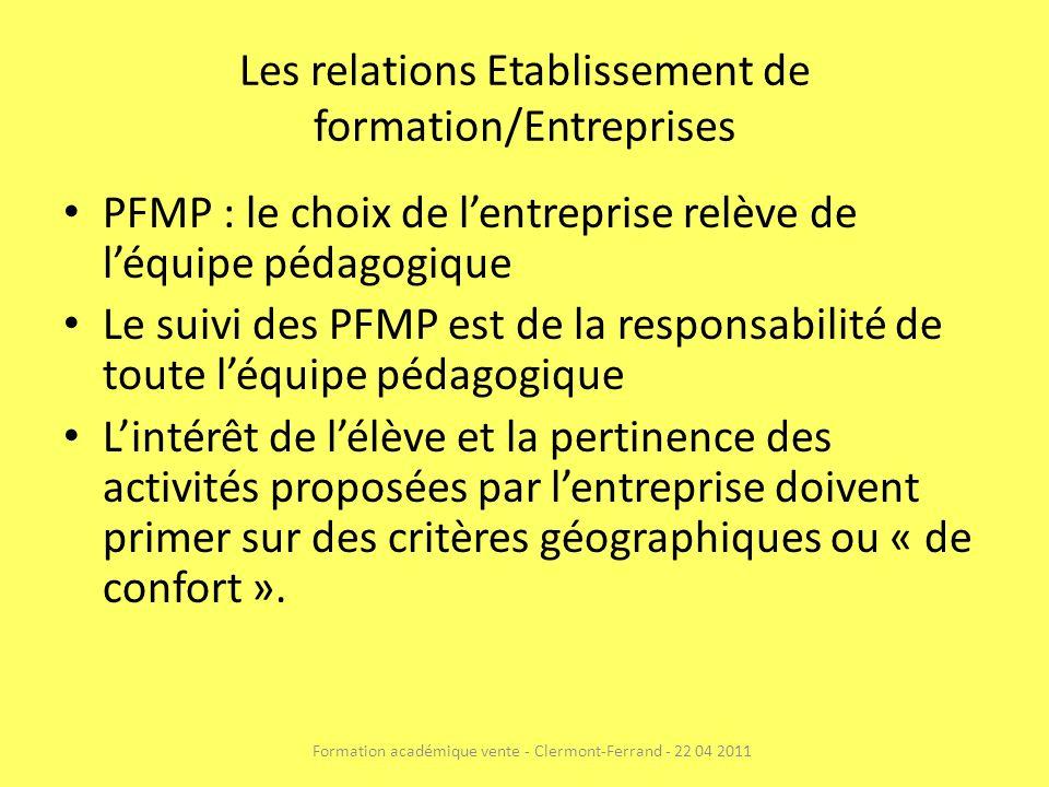 Les relations Etablissement de formation/Entreprises PFMP : le choix de lentreprise relève de léquipe pédagogique Le suivi des PFMP est de la responsa