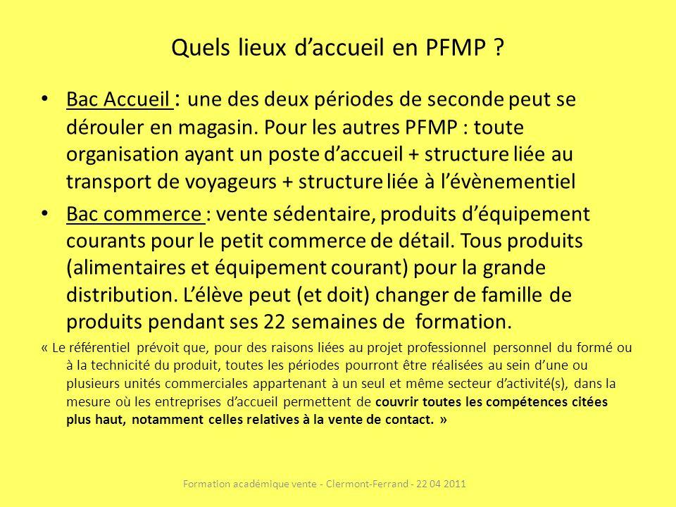Quels lieux daccueil en PFMP ? Bac Accueil : une des deux périodes de seconde peut se dérouler en magasin. Pour les autres PFMP : toute organisation a