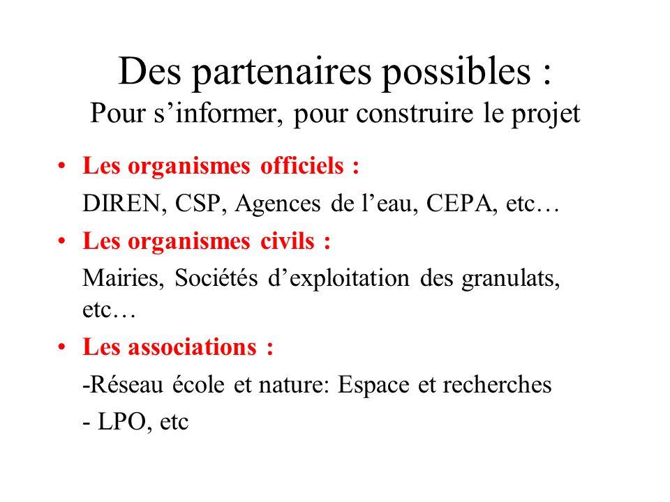 Des partenaires possibles : Pour sinformer, pour construire le projet Les organismes officiels : DIREN, CSP, Agences de leau, CEPA, etc… Les organisme