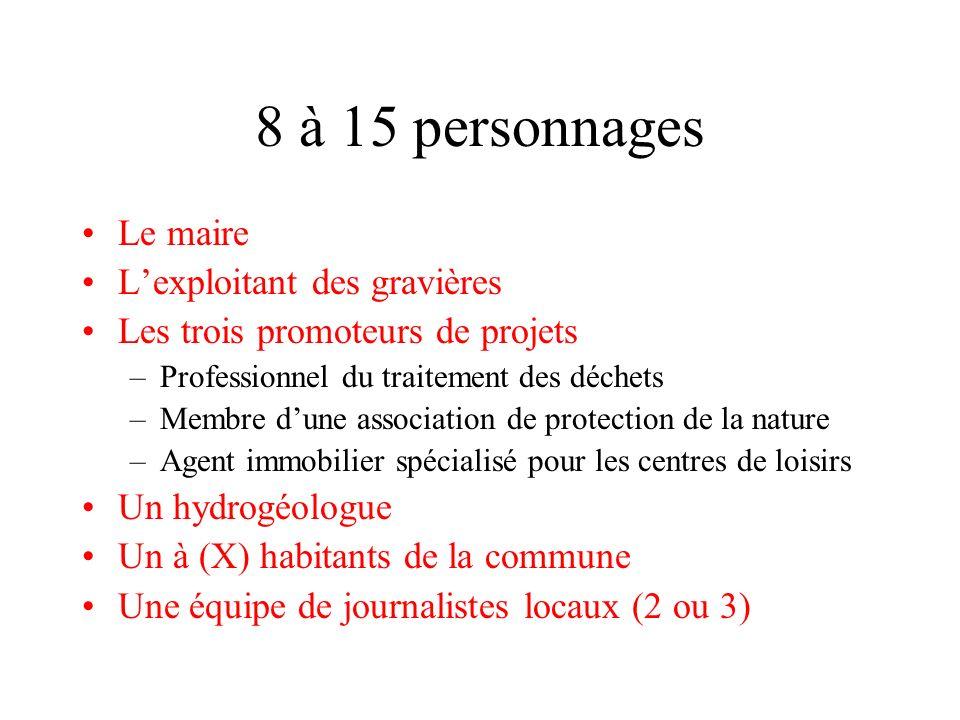 8 à 15 personnages Le maire Lexploitant des gravières Les trois promoteurs de projets –Professionnel du traitement des déchets –Membre dune associatio