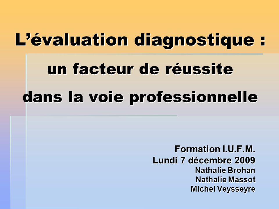 Lévaluation diagnostique : un facteur de réussite dans la voie professionnelle Formation I.U.F.M. Lundi 7 décembre 2009 Nathalie Brohan Nathalie Broha