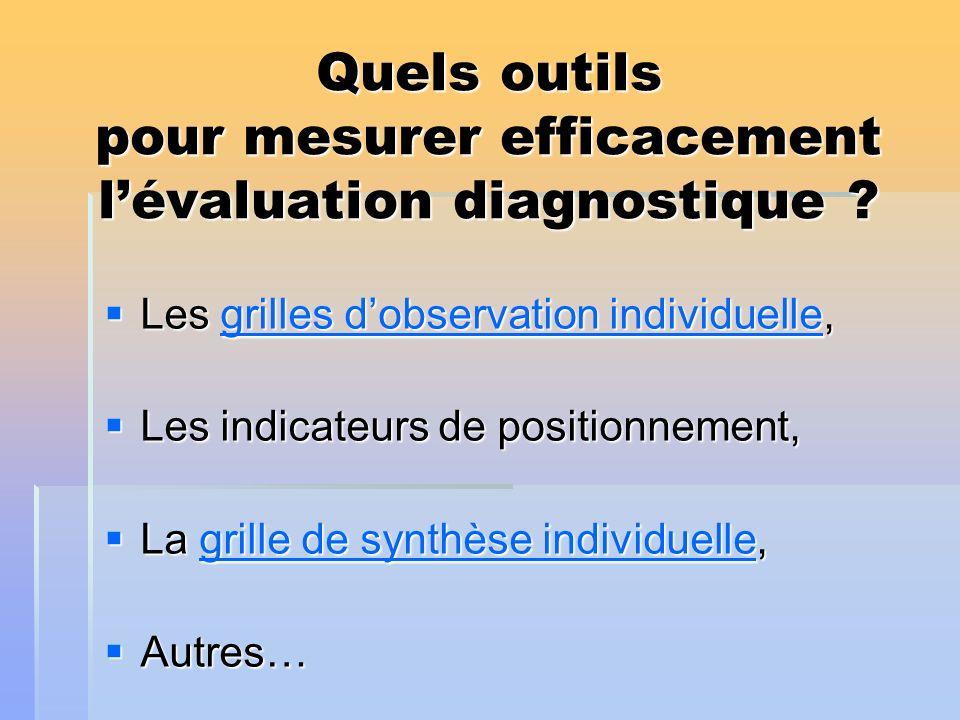 Quels outils pour mesurer efficacement lévaluation diagnostique ? Les grilles dobservation individuelle, Les grilles dobservation individuelle,grilles