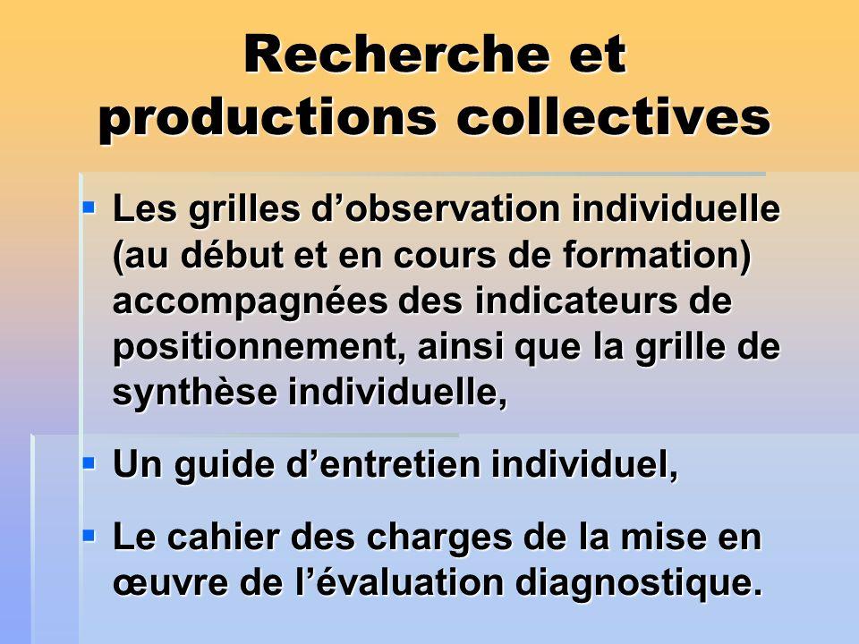 Recherche et productions collectives Les grilles dobservation individuelle (au début et en cours de formation) accompagnées des indicateurs de positio