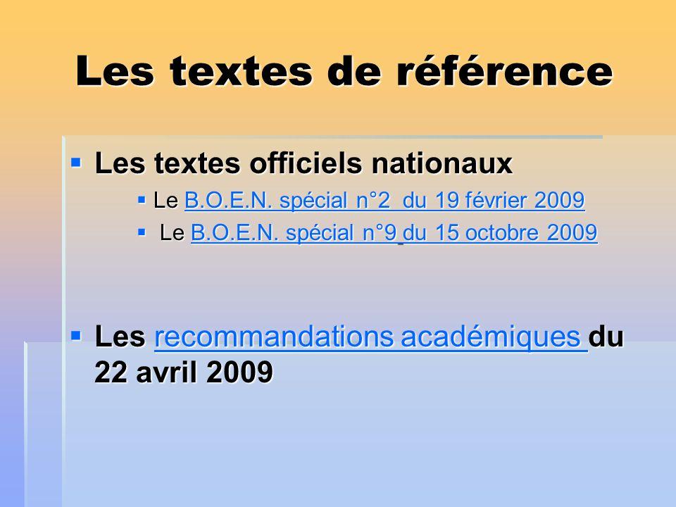 Les textes de référence Les textes officiels nationaux Les textes officiels nationaux Le B.O.E.N. spécial n°2 du 19 février 2009 Le B.O.E.N. spécial n
