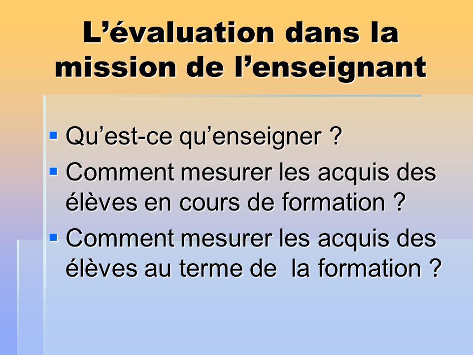 Lévaluation dans la mission de lenseignant Quest-ce quenseigner ? Quest-ce quenseigner ? Comment mesurer les acquis des élèves en cours de formation ?