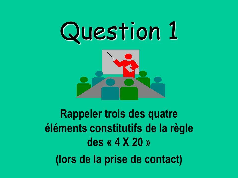 Question 1 Rappeler trois des quatre éléments constitutifs de la règle des « 4 X 20 » (lors de la prise de contact)