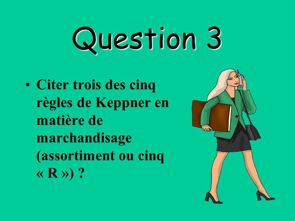 Question 3 Citer trois des cinq règles de Keppner en matière de marchandisage (assortiment ou cinq « R ») ?