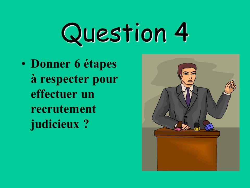Question 4 Donner 6 étapes à respecter pour effectuer un recrutement judicieux ?