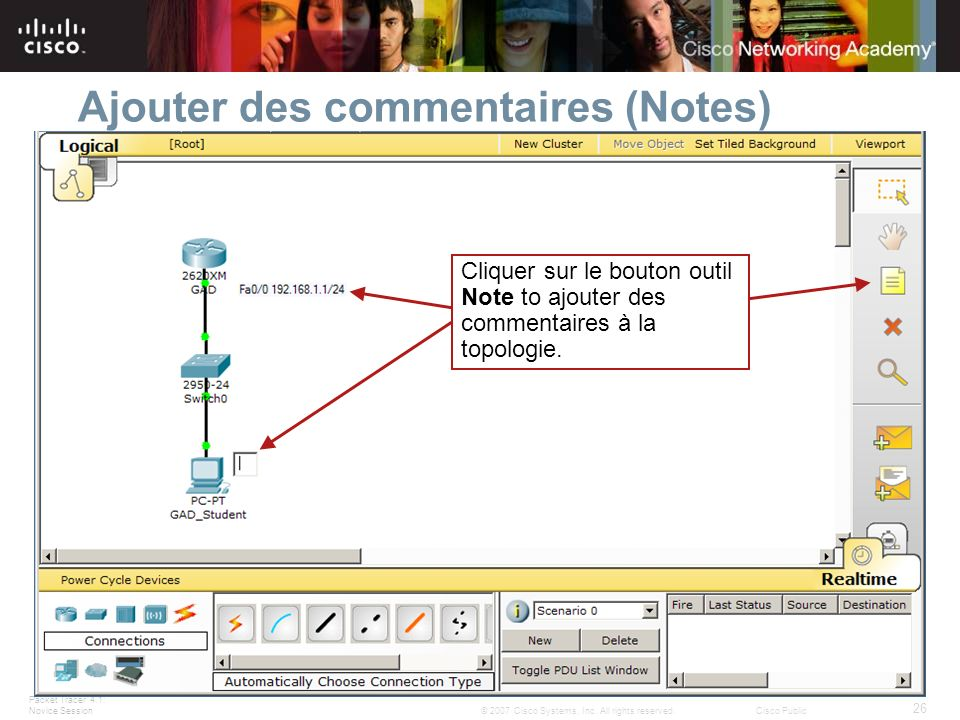 Packet Tracer 4.1: Novice Session 26 © 2007 Cisco Systems, Inc. All rights reserved.Cisco Public Ajouter des commentaires (Notes) Cliquer sur le bouto