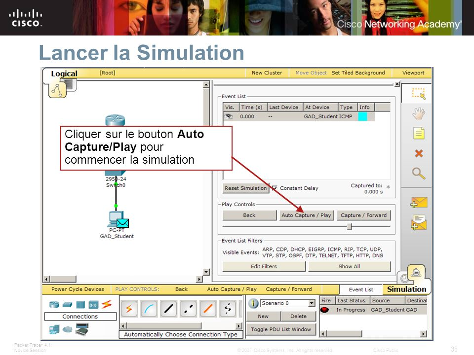Packet Tracer 4.1: Novice Session 38 © 2007 Cisco Systems, Inc.