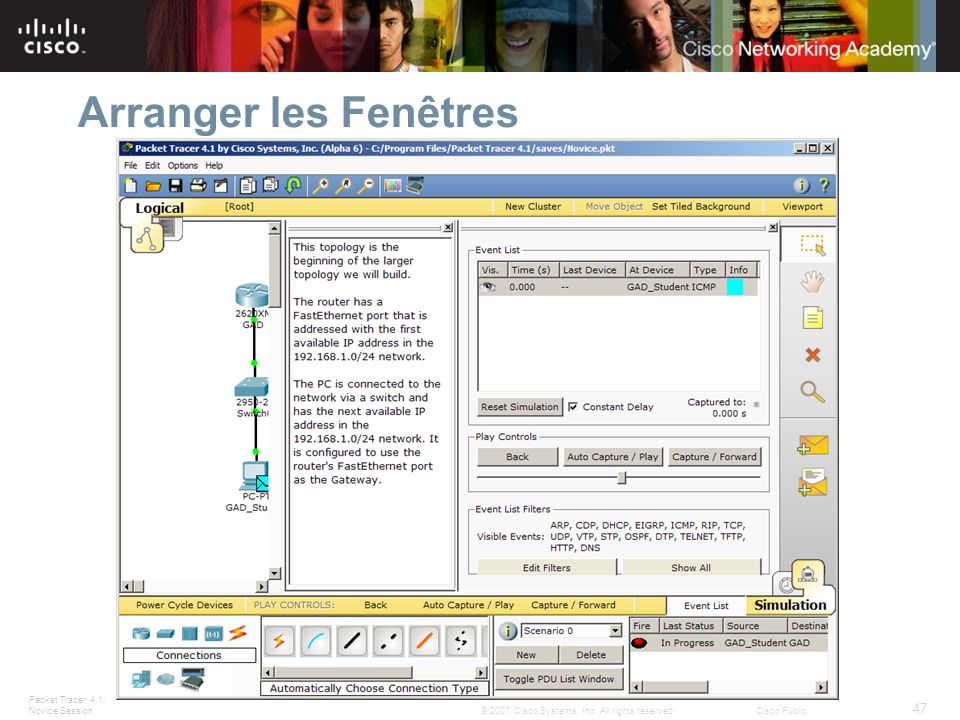 Packet Tracer 4.1: Novice Session 47 © 2007 Cisco Systems, Inc. All rights reserved.Cisco Public Arranger les Fenêtres Windows can be docked by double