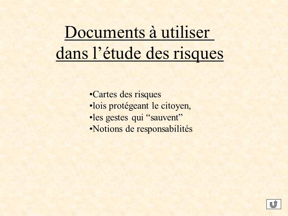 Documents à utiliser dans létude des risques Cartes des risques lois protégeant le citoyen, les gestes qui sauvent Notions de responsabilités