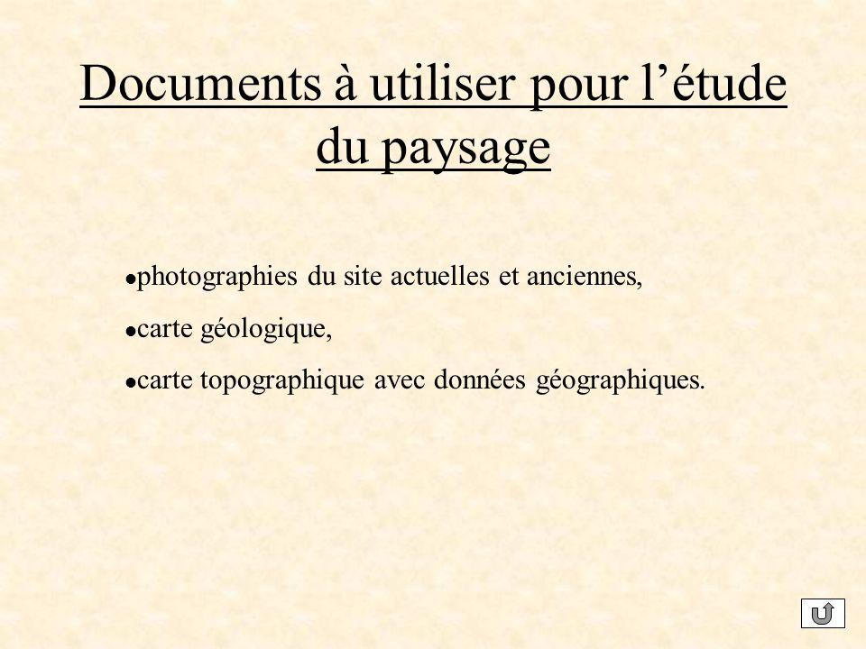 Documents à utiliser pour létude du paysage photographies du site actuelles et anciennes, carte géologique, carte topographique avec données géographiques.