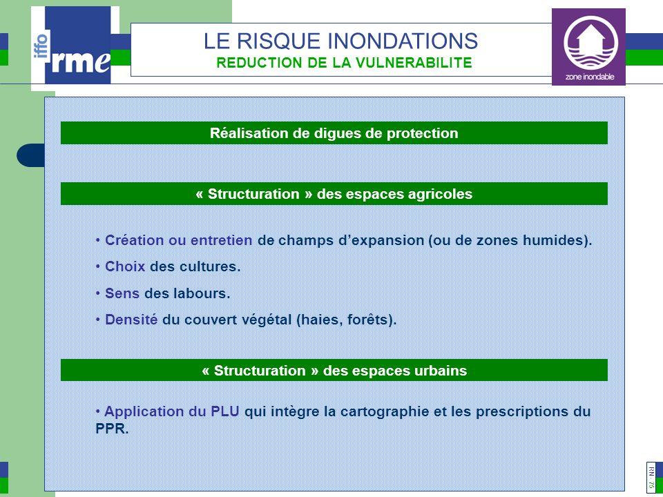 RN - 74 LE RISQUE INONDATIONS REDUCTION DE LA VULNERABILITE Aménagements du cours deau Amélioration des ouvrages hydrauliques.