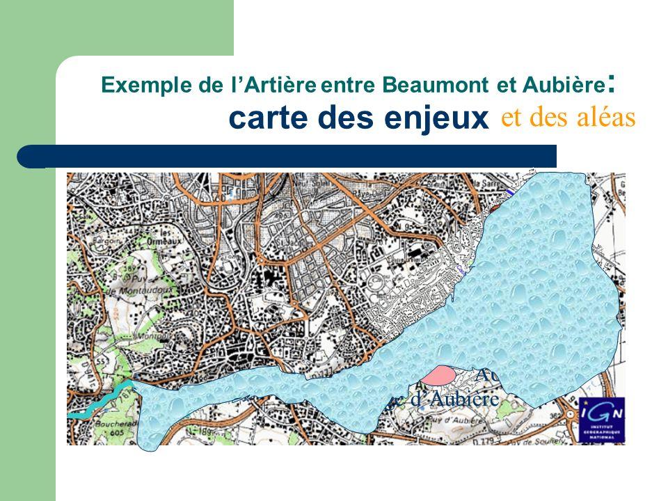 Exemple de lArtière entre Beaumont et Aubière : carte des aléas