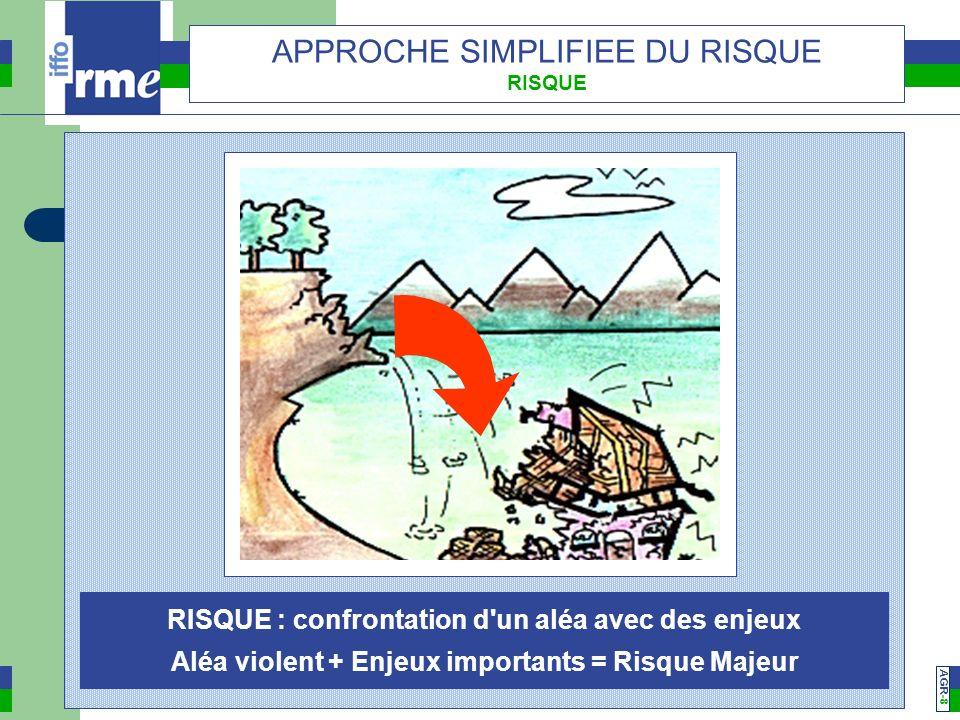AGR -7 APPROCHE SIMPLIFIEE DU RISQUE ENJEUX ENJEUX : Intérêts menacés par laléa (humains, économiques, environnementaux, patrimoniaux)