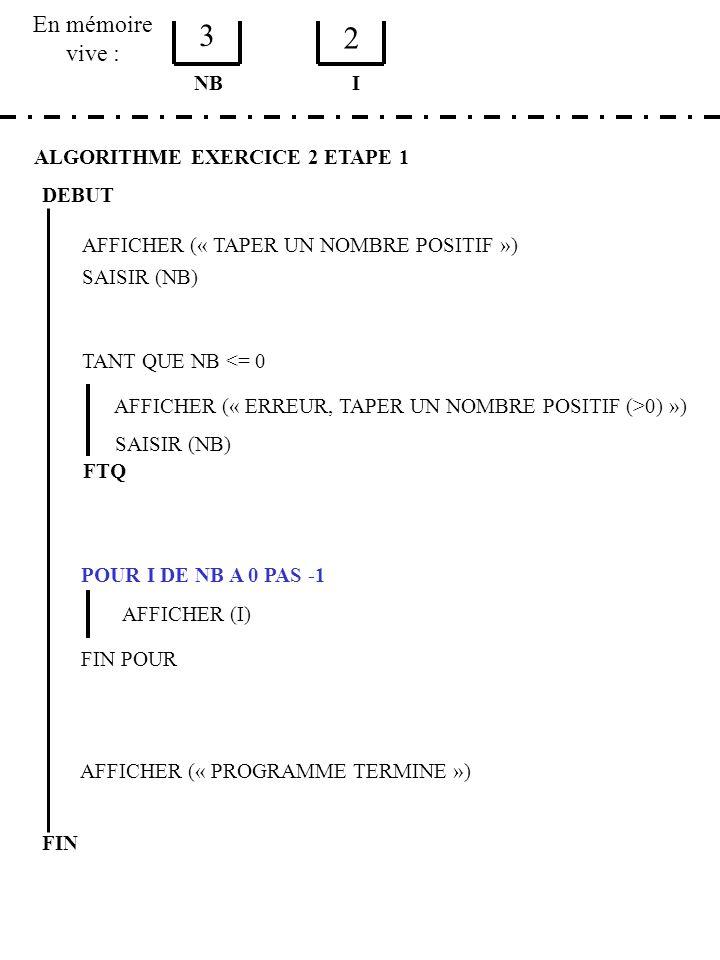 En mémoire vive : ALGORITHME EXERCICE 2 ETAPE 1 DEBUT AFFICHER (« TAPER UN NOMBRE POSITIF ») SAISIR (NB) NB TANT QUE NB <= 0 AFFICHER (« ERREUR, TAPER UN NOMBRE POSITIF (>0) ») SAISIR (NB) FTQ POUR I DE NB A 0 PAS -1 AFFICHER (I) FIN POUR AFFICHER (« PROGRAMME TERMINE ») FIN I 3 2