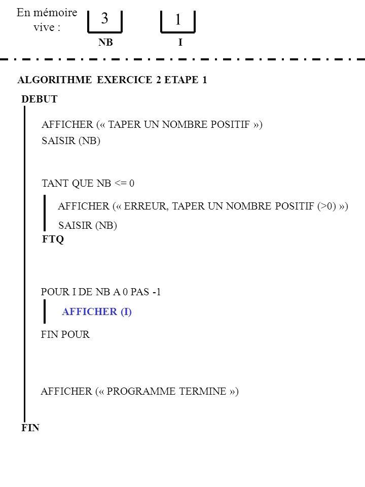 En mémoire vive : ALGORITHME EXERCICE 2 ETAPE 1 DEBUT AFFICHER (« TAPER UN NOMBRE POSITIF ») SAISIR (NB) NB TANT QUE NB <= 0 AFFICHER (« ERREUR, TAPER UN NOMBRE POSITIF (>0) ») SAISIR (NB) FTQ POUR I DE NB A 0 PAS -1 AFFICHER (I) FIN POUR AFFICHER (« PROGRAMME TERMINE ») FIN I 3 1
