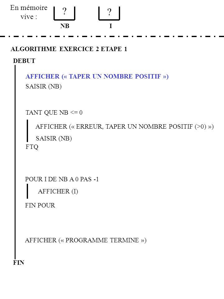 En mémoire vive : ALGORITHME EXERCICE 2 ETAPE 1 DEBUT AFFICHER (« TAPER UN NOMBRE POSITIF ») SAISIR (NB) NB TANT QUE NB <= 0 AFFICHER (« ERREUR, TAPER UN NOMBRE POSITIF (>0) ») SAISIR (NB) FTQ POUR I DE NB A 0 PAS -1 AFFICHER (I) FIN POUR AFFICHER (« PROGRAMME TERMINE ») FIN I 3 0 TAPER UN NOMBRE POSITIF -2 {puis ENTER} ERREUR TAPER UN NOMBRE POSITIF (>0) 3 {puis ENTER} 3 2 1 0