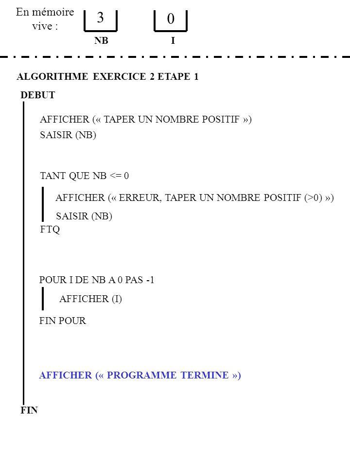 En mémoire vive : ALGORITHME EXERCICE 2 ETAPE 1 DEBUT AFFICHER (« TAPER UN NOMBRE POSITIF ») SAISIR (NB) NB TANT QUE NB <= 0 AFFICHER (« ERREUR, TAPER UN NOMBRE POSITIF (>0) ») SAISIR (NB) FTQ POUR I DE NB A 0 PAS -1 AFFICHER (I) FIN POUR AFFICHER (« PROGRAMME TERMINE ») FIN I 3 0
