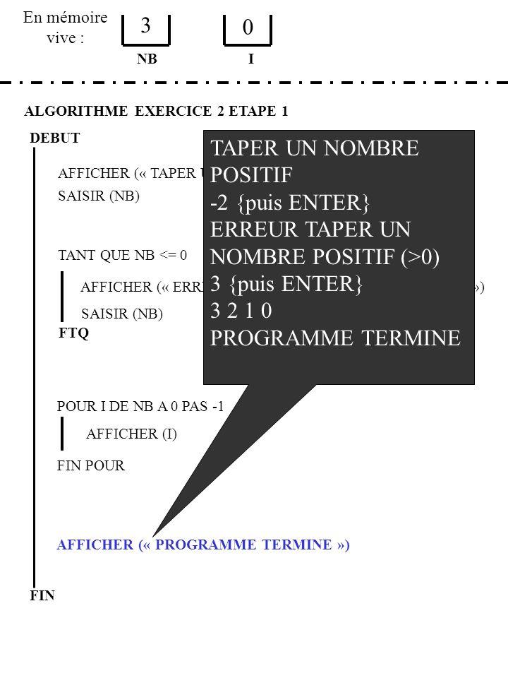 En mémoire vive : ALGORITHME EXERCICE 2 ETAPE 1 DEBUT AFFICHER (« TAPER UN NOMBRE POSITIF ») SAISIR (NB) NB TANT QUE NB <= 0 AFFICHER (« ERREUR, TAPER UN NOMBRE POSITIF (>0) ») SAISIR (NB) FTQ POUR I DE NB A 0 PAS -1 AFFICHER (I) FIN POUR AFFICHER (« PROGRAMME TERMINE ») FIN I 3 0 TAPER UN NOMBRE POSITIF -2 {puis ENTER} ERREUR TAPER UN NOMBRE POSITIF (>0) 3 {puis ENTER} 3 2 1 0 PROGRAMME TERMINE