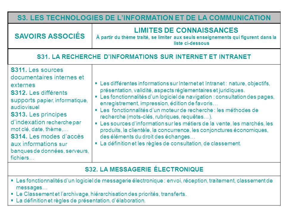 S3. LES TECHNOLOGIES DE LINFORMATION ET DE LA COMMUNICATION SAVOIRS ASSOCIÉS LIMITES DE CONNAISSANCES À partir du thème traité, se limiter aux seuls e